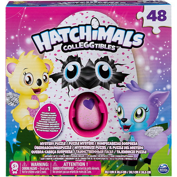 Игра Hatchimals Пазл 48 элементов в коробкеПазлы для малышей<br>Характеристики:<br><br>• возраст: от 5 лет<br>• в наборе: пазл 48 элементов, 1 яйцо с мини фигуркой Hatchimals (Хетчималс)<br>• размер готового пазла: 29х38 см.<br>• материал: картон, пластик<br>• упаковка: картонная коробка<br>• Внимание! Эксклюзивная фигурка и пазл скрыты в непрозрачной упаковке. Узнать заранее, какой рисунок пазла и какая фигурка вам попадутся, невозможно.<br><br>Набор, включающий в себя пазл и коллекционную фигурку Hatchimals (Хетчималс) – это удивительный подарок от компании Spin Master для тех, кого покорили забавные питомцы Hatchimals (Хетчималс) и кто обожает решать головоломки.<br><br>Пазл состоит из 48 элементов, собрав которые, ребенок получит яркую картинку с изображением волшебного мира мини-питомцев Hatchimals (Хетчималс). Но какой именно это будет рисунок, останется сюрпризом до последнего момента. Все элементы пазла выполнены из плотного картона, они не сгибаются, не ломаются и могут быть использованы много раз. Детали тщательно вырезаны, имеют ровные края, поэтому сложенная картинка выглядит сплошной и гладкой. Печать выполнена качественно, изображение имеет оптимальное количество цветов.<br><br>Маленькая игрушка в виде забавного зверька Hatchimals (Хетчималс) спрятана в яйце. Скорлупка у яйца фиолетовая, в цветную крапинку, а еще на нем нарисовано сердечко, которое меняет цвет. Для того чтобы питомец вылупился, нужно потереть сердечко, пока оно не поменяет цвет с фиолетового на розовый. Теперь малыш готов к вылуплению. Нужно только аккуратно надавить на верхнюю часть скорлупки, чтобы помочь ему. Узнать заранее, какая фигурка вам попадется, невозможно.<br><br>Игру Hatchimals Пазл 48 элементов в коробке можно купить в нашем интернет-магазине.<br>Ширина мм: 206; Глубина мм: 208; Высота мм: 55; Вес г: 278; Возраст от месяцев: 48; Возраст до месяцев: 84; Пол: Унисекс; Возраст: Детский; Количество деталей: 48; SKU: 7188926;