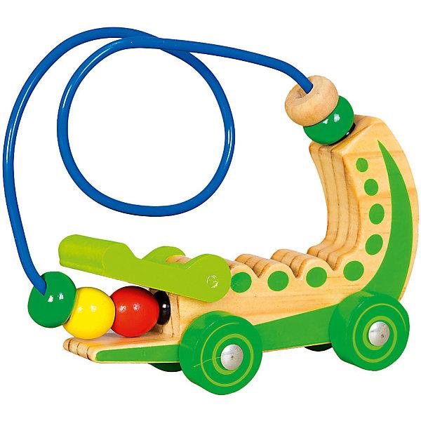 Лабиринт-каталка Mapacha КрокодилДеревянные игрушки<br>Характеристики товара:<br><br>• возраст: от 3 лет;<br>• материал: дерево;<br>• размер: 17х6х14 см;<br>• вес: 167 гр.<br><br>Лабиринт-каталка «Крокодил» не только веселое развлечение для ребенка, но и хорошее средство для развития.Ребенку будет интересно передвигать пальцами разноцветные бусины по крутому и извилистому лабиринту. Крокодила можно катать. Изделие изготовлено из натуральной древесины. не имеет острых углов и шероховатых поверхностей.<br><br>Игра направлена на развитие мелкой моторики рук, памяти, логики и сообразительности.<br><br>Лабиринт-каталка «Крокодил» можно купить в нашем интернет-магазине.<br>Ширина мм: 170; Глубина мм: 60; Высота мм: 140; Вес г: 167; Возраст от месяцев: -2147483648; Возраст до месяцев: 2147483647; Пол: Унисекс; Возраст: Детский; SKU: 7190010;