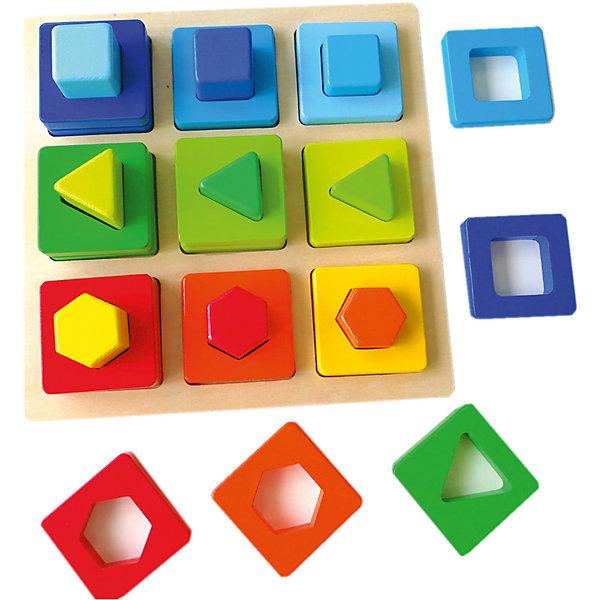 Сортер Mapacha Цвета и фигурыРазвивающие игрушки<br>Характеристики товара:<br><br>• возраст: от 3 лет;<br>• комплектация: корпус, 27 деталей;<br>• материал: дерево;<br>• размер: 23х6х23 см;<br>• вес: 846 гр.<br><br>Сортер «Цвета и фигуры» увлекательная и развивающая игра для ребенка. Данная игра представляет собой дощечку с квадратными выемками, в которые ребенку предлагается вставлять различные по цветам элементы. Игра сделана из древесины высокого качества и покрыта стойкими нетоксичными красителями.<br><br>Такое изделие поспособствует развитию у ребенка мелкой моторики рук, логики, понимание соответствия предметов по цвету, форме и величине.<br><br>Сортер «Цвета и фигуры» можно купить в нашем интернет-магазине.<br>Ширина мм: 230; Глубина мм: 60; Высота мм: 230; Вес г: 846; Возраст от месяцев: -2147483648; Возраст до месяцев: 2147483647; Пол: Унисекс; Возраст: Детский; SKU: 7190046;