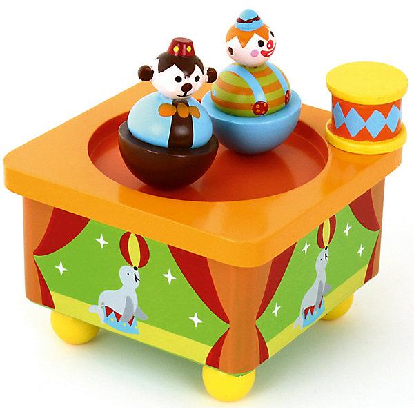 Волшебная коробочка муз., зав. КлоуныДетские предметы интерьера<br>Характеристики товара:<br><br>• возраст: от 3 лет;<br>• материал: дерево;<br>• размер игрушки: 10х10х7 см;<br>• высота клоуна: 5 см;<br>• размер упаковки: 11х11х11 см;<br>• вес упаковки: 375 гр.;<br>• страна производитель: Китай.<br><br>Волшебная коробочка «Клоуны» Mapacha — музыкальная развивающая игрушка для малышей. Нужно поставить клоунов на коробочку и покрутить рычажок. Тогда клоуны начнут кружиться под веселую музыку. Игрушка способствует развитию мелкой моторики рук, музыкального слуха. Игрушка выполнена из качественного натурального дерева, хорошо отшлифована и окрашена безопасными красителями.<br><br>Волшебную коробочку «Клоуны» Mapacha можно приобрести в нашем интернет-магазине.<br>Ширина мм: 110; Глубина мм: 110; Высота мм: 110; Вес г: 381; Возраст от месяцев: -2147483648; Возраст до месяцев: 2147483647; Пол: Унисекс; Возраст: Детский; SKU: 7190050;