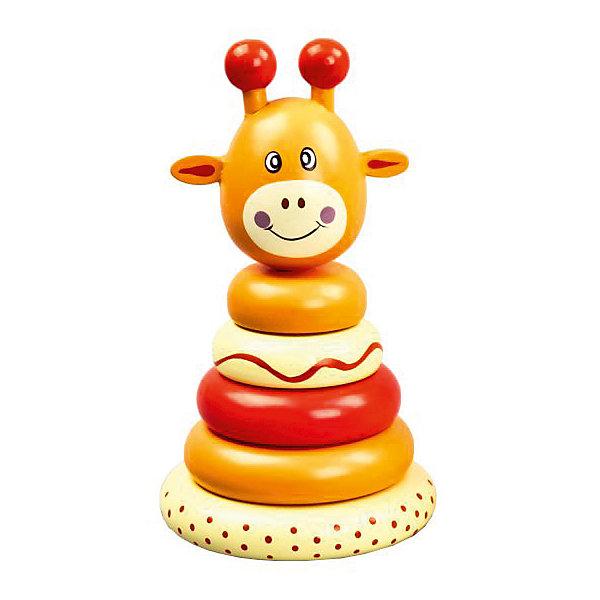 Пирамидка Mapacha ЖирафикДеревянные игрушки<br>Характеристики товара:<br><br>• возраст: от 3 лет;<br>• комплектация: 6 элементов пирамидки;<br>• материал: дерево;<br>• размер: 12,9х6,5х21 см;<br>• вес: 194 гр.<br><br>Пирамидка «Жирафик» увлекательная и развивающая игра для ребенка. Игрушка состоит из основания, на которое нанизываются четыре колечка разного диаметра и расцветки, а также верхушка в виде головы жирафа. Разный диаметр колечек позволяет ребенку экспериментировать с вариантами сборки пирамидки. Игра сделана из древесины высокого качества. <br><br>Такое изделие поспособствует развитию у ребенка мелкой моторики рук, логики, фантазии, учит основные цвета, усваивает понятия больше и меньше.<br><br>Пирамидка «Жирафик» можно купить в нашем интернет-магазине.<br>Ширина мм: 129; Глубина мм: 65; Высота мм: 210; Вес г: 194; Возраст от месяцев: -2147483648; Возраст до месяцев: 2147483647; Пол: Унисекс; Возраст: Детский; SKU: 7190092;