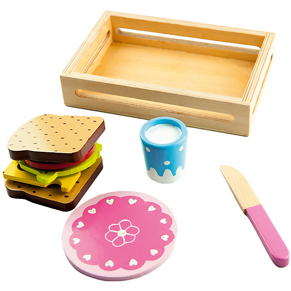Игровой набор Mapacha СэндвичИгрушечные продукты питания<br>Характеристики товара:<br><br>• возраст: от 3 лет;<br>• комплектация: деревянный ящик, 8 деталей (тарелка, ножик, кружка, 2 тоста, помидор, сыр и салатный лист);<br>• материал: дерево;<br>• размер: 18х3,5х12 см;<br>• вес: 281 гр.<br><br>Игровой набор «Сэндвич» увлекательная и развивающая игра для ребенка. В данный набор входят деревянные продукты деревянный ящик, 8 деталей (тарелка, ножик, кружка, 2 тоста, помидор, сыр и салатный лист). Продукты разделены на ломтики, которые скреплены между собой липучкой. В наборе есть ножик, которым малыш сможет разрезать все эти продукты, а поскольку ломтики уже разрезаны, то они сами отделяются друг от друга.Игра сделана из древесины высокого качества.<br><br>Такое изделие поспособствует развитию у ребенка мелкой моторики рук, логики, фантазии.<br><br>Игровой набор «Сэндвич» можно купить в нашем интернет-магазине.<br>Ширина мм: 180; Глубина мм: 35; Высота мм: 120; Вес г: 281; Возраст от месяцев: -2147483648; Возраст до месяцев: 2147483647; Пол: Унисекс; Возраст: Детский; SKU: 7190106;