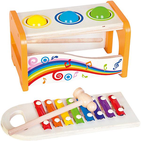 Игра-стучалка Mapacha Волшебные ноты с ксилофономДеревянные игрушки<br>Характеристики товара:<br><br>• возраст: от 3 лет;<br>• комплектация: игровая коробочка, молоток, 3 шарика, ксилофон; <br>• материал: дерево;<br>• размер: 31х15х18 см;<br>• вес: 1.250 кг.<br><br>Игра-стучалка «Волшебные ноты» увлекательная игра для ребенка. <br>В набор входит игровая коробочка с молотком и 3-мя шариками, а также ксилофон. Задача ребенка - с помощью молоточка протолкнуть шарики в круглые отверстия. Шарики будут падать на ксилофон с весёлым звуком и скатываться вниз. Ксилофон можно использовать отдельно от столика.<br><br>Все элементы игрушки выполнены из натурального дерева и окрашены безопасными для здоровья детей красками.<br><br>Игра-стучалка «Волшебные ноты» можно купить в нашем интернет-магазине.<br>Ширина мм: 310; Глубина мм: 150; Высота мм: 180; Вес г: 1250; Возраст от месяцев: -2147483648; Возраст до месяцев: 2147483647; Пол: Унисекс; Возраст: Детский; SKU: 7190132;