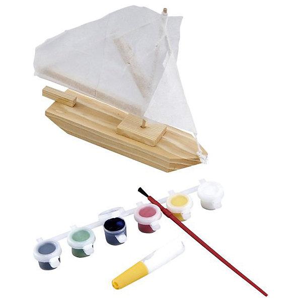 Модель Парусник с краскамиНаборы для раскрашивания<br>Характеристики товара:<br><br>• возраст: от 3 лет;<br>• материал: дерево;<br>• в комплекте: детали для сборки, кисточка, краски;<br>• размер упаковки: 25х20х4 см;<br>• вес упаковки: 625 гр.;<br>• страна производитель: Китай.<br><br>Модель «Парусник» Mapacha позволит собрать и склеить настоящую модель парусника, а затем раскрасить ее при помощи красок. Детали выполнены из натурального дерева.<br><br>Модель «Парусник» Mapacha можно приобрести в нашем интернет-магазине.<br>Ширина мм: 250; Глубина мм: 35; Высота мм: 200; Вес г: 625; Возраст от месяцев: -2147483648; Возраст до месяцев: 2147483647; Пол: Унисекс; Возраст: Детский; SKU: 7190152;