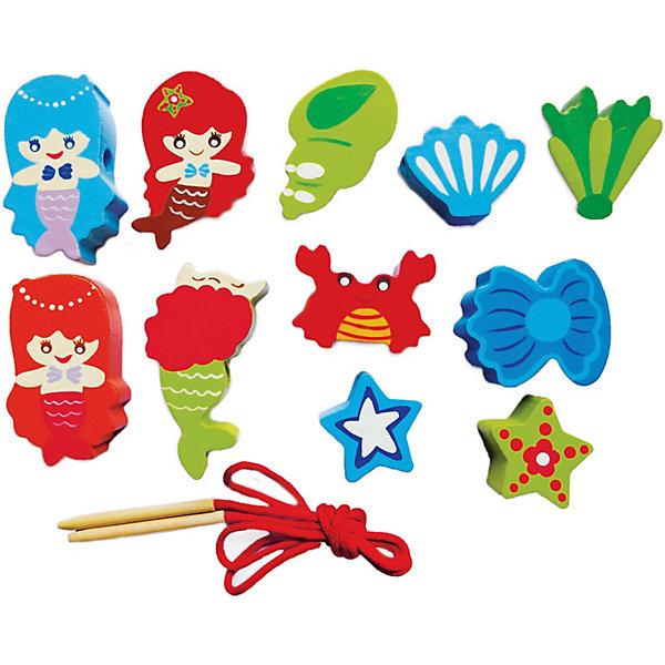 Шнуровка - бусы  РусалочкиШнуровки<br>Характеристики товара:<br><br>• возраст: от 3 лет;<br>• материал: дерево;<br>• размер упаковки: 23х14х2 см;<br>• вес упаковки: 150 гр.;<br>• страна производитель: Китай.<br><br>Шнуровка-бусы «Русалочки» Mapacha — развивающая игрушка для малышей, способствующая развитию мелкой моторики рук и логического мышления. В комплекте представлены яркие разноцветные элементы, которые ребенку предстоит нанизывать на ниточку как бусы, каждый раз меняя последовательность. Все детали выполнены из качественного натурального дерева, хорошо отшлифованы и окрашены безопасными красителями.<br><br>Шнуровку-бусы «Русалочки» Mapacha можно приобрести в нашем интернет-магазине.<br>Ширина мм: 140; Глубина мм: 20; Высота мм: 230; Вес г: 161; Возраст от месяцев: -2147483648; Возраст до месяцев: 2147483647; Пол: Унисекс; Возраст: Детский; SKU: 7190170;