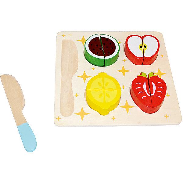 Игровой набор Mapacha ФруктыИгрушечные продукты питания<br>Характеристики товара:<br><br>• возраст: от 3 лет;<br>• комплектация: разделочная доска, 4 вида фруктов, ножик;<br>• материал: дерево;<br>• размер: 18х0,5х18 см;<br>• вес: 229 гр.<br><br>Игровой набор «Фрукты» увлекательная и развивающая игра для ребенка. В данный набор входят разделочная доска, 4 вида фруктов, поделенных напополам и ножик.<br><br>Все игрушки выполнены из натурального дерева, не имеют острых углов и шероховатых поверхностей. Такое изделие поспособствует развитию у ребенка мелкой моторики рук, логики, фантазии.<br><br>Игровой набор «Фрукты» можно купить в нашем интернет-магазине.<br>Ширина мм: 180; Глубина мм: 5; Высота мм: 180; Вес г: 229; Возраст от месяцев: -2147483648; Возраст до месяцев: 2147483647; Пол: Унисекс; Возраст: Детский; SKU: 7190172;