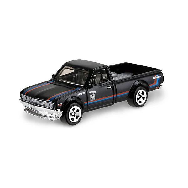 Базовая машинка Mattel Hot Wheels, Datsun 620 (черная)Популярные игрушки<br>Характеристики:<br><br>• возраст: от 3 лет;<br>• материал: металл, пластмасса;<br>• вес упаковки: 30 гр.;<br>• размер упаковки: 11х4х11 см;<br>• тип упаковки: блистерный;<br>• страна бренда: США.<br><br>Пикап Hot Wheels от Mattel входит в группу моделей базовой коллекции. Миниатюры этой серии изображают реальные автомобили, спорткары, фургоны, мотоциклы в масштабе 1:64, а также модели с собственным оригинальным дизайном. Собрав свою линейку машинок, ребенок сможет устраивать заезды, гонки и меняться экземплярами с друзьями.<br><br>Монолитные элементы игрушки увеличивают ее прочность. Падение и столкновение с твердыми предметами во время игр не отражается на внешнем виде и ходе машинки. Кузов отчетливо детализирован, покрыт стойкими насыщенными красками. Колеса легко вращаются вокруг своей оси.<br><br>Игрушка выполнена из качественных материалов, сертифицированных по стандартам безопасности для использования детьми.<br><br>Машинку Hot Wheels из базовой коллекции можно купить в нашем интернет-магазине.<br>Ширина мм: 110; Глубина мм: 45; Высота мм: 110; Вес г: 30; Возраст от месяцев: 36; Возраст до месяцев: 96; Пол: Мужской; Возраст: Детский; SKU: 7191325;