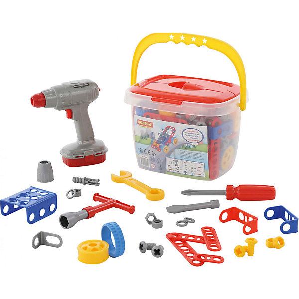 Конструктор Полесье Изобретатель. Автомобиль № 1 в ведерке, 91 детальПластмассовые конструкторы<br>Характеристики товара:<br><br>• возраст: от 3 лет;<br>• цвет: мультиколор;<br>• комплект: 91 элемент + шуруповерт (работает от 2 батареек типа АА, входят в комплект);<br>• материал: пластик;<br>• размер упаковки: 25x18x17 см.;<br>• упаковка: пластиковое ведерко;<br>• наименование бренда, страна бренда: Полесье, Беларусь;<br>• страна изготовитель: Беларусь.<br><br>Конструктор «Изобретатель. Автомобиль №1 + шуруповерт» от торговой марки Полесье - это творческий набор для трудолюбивого ребёнка. Он состоит исключительно из классических элементов — балок, уголков, болтиков и шурупов. Благодаря комплекту инструментов и деталей входящему в состав, ребенок сможет смастерить автомобиль и игра станет увлекательнее и реалистичнее. <br><br>В комплект входит:набор пластиковых деталей для творчества; накидной ключ; отвёртка со сменной насадкой; гаечный ключ; шуруповёрт со сменными насадками (работает от 2 батареек типа АА, входят в комплект).<br><br>На протяжении уже двух десятилетий мамы и папы со всего мира доверяют ТМ «Полесье» самое дорогое — своих малышей. Игрушки, сделанные в Белоруссии, славятся высоким качеством пластмассы, тщательной обработкой и безопасными углами.<br><br>Игра с конструктором развивает образное и пространственное мышления, стимулирует фантазию и творческое воображение, организаторские навыки и речь.<br><br>Конструктор «Изобретатель. Автомобиль №1 + шуруповерт», 91 элемент в ведёрке, Полесье можно купить в нашем интернет-магазине.<br><br>Ширина мм: 250<br>Глубина мм: 180<br>Высота мм: 170<br>Вес г: 709<br>Возраст от месяцев: 12<br>Возраст до месяцев: 36<br>Пол: Унисекс<br>Возраст: Детский<br>SKU: 7191533
