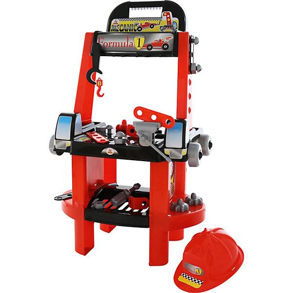 Набор инструментов Полесье Механик-супер в пакетеНаборы инструментов<br>Характеристики товара:<br><br>• возраст: от 3 лет;<br>• цвет: красный;<br>• комплект: стойка, акссесуары и предметы;<br>• материал: пластик;<br>• размер игрушки: 54 х 34,5 х 88,5 см;<br>• упаковка: пакет;<br>• наименование бренда, страна бренда: Полесье, Беларусь;<br>• страна изготовитель: Беларусь.<br><br>Игровой набор «Механик-супер» от Полесье создан специально для мальчишек, которые хотят почувствовать себя настоящими механиками. В наборе есть все необходимое для маленьких мастеров.<br><br>Набор Механика Супер - это стойка с каской и инструментами. Стойка имеет ниши для мелочей, отверстия для винтов, крепежи для инструментов и штыри на которые можно надеть колеса или шестеренки. Также на стойку крепятся тиски и сбоку расположена лебедка. Набор изготовлен из высококачественного и безопасного для ребенка пластика.<br><br>Игрушка имеет высшую степень качества и рекомендована в качестве игрового набора для детского сада. Стойка поможет выработке аккуратности: не разбрасывать детали набора, а хранить всё вместе.<br><br>В наборе: наклейки на стойку, которые нужно наклеить самостоятельно, тисочки, винты, гайки, крепежи, полоски, отвертка, колеса, шестеренки, гаечный ключ, лебедка с краном.<br><br>Игровой набор «Механик-супер», в пакете, Полесье можно купить в нашем интернет-магазине.<br>Ширина мм: 540; Глубина мм: 345; Высота мм: 885; Вес г: 2827; Возраст от месяцев: 12; Возраст до месяцев: 36; Пол: Мужской; Возраст: Детский; SKU: 7191543;