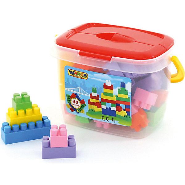 Конструктор Полесье Строитель, 45 деталей (в ведерке)Пластмассовые конструкторы<br>Характеристики товара:<br><br>• возраст: от 3 лет;<br>• цвет: мультиколор;<br>• количество элементов: 45 шт.;<br>• материал: пластик;<br>• размер упаковки: 25x18x17 см.;<br>• упаковка: пластиковое ведерко;<br>• наименование бренда, страна бренда: Полесье, Беларусь;<br>• страна изготовитель: Беларусь.<br><br>Конструктор «Строитель» от торговой марки Полесье необходимая игрушка в любой детской комнате, которая надолго займет внимание вашего ребенка. В комплекте 45 элементов конструктора, с помощью которых ребенок сможет складывать невообразимые постройки. <br><br>Все детали конструктора имеют большие формы, изготовлены из высококачественного пластика и безопасны для здоровья малыша. Детали легко и прочно соединяются между собой. И хранятся в компактном пластиковом ведерке с крышкой.<br><br>Игра с конструктором развивает образное и пространственное мышления, стимулирует фантазию и творческое воображение, организаторские навыки и речь.<br><br><br>Конструктор «Строитель», 45 элементов в ведёрке, Полесье можно купить в нашем интернет-магазине.<br><br>Ширина мм: 250<br>Глубина мм: 180<br>Высота мм: 170<br>Вес г: 579<br>Возраст от месяцев: 12<br>Возраст до месяцев: 36<br>Пол: Унисекс<br>Возраст: Детский<br>SKU: 7191555