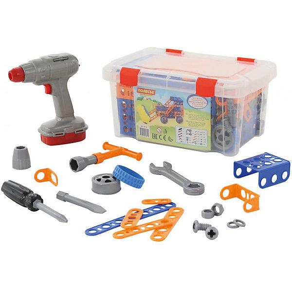 Конструктор Полесье Изобретатель. Трактор-погрузчик № 1 в контейнере, 142 деталиПластмассовые конструкторы<br>Характеристики товара:<br><br>• возраст: от 3 лет;<br>• цвет: мультиколор;<br>• комплект: 91 элемент + шуруповерт (работает от 2 батареек типа АА, входят в комплект);<br>• материал: пластик;<br>• размер упаковки: 25x18x17 см.;<br>• упаковка: пластиковый контейнер;<br>• наименование бренда, страна бренда: Полесье, Беларусь;<br>• страна изготовитель: Беларусь.<br><br>Конструктор «Изобретатель. Трактор-погрузчик №1 + шуруповерт» от торговой марки Полесье - это творческий набор для трудолюбивого ребёнка. Он состоит исключительно из классических элементов — балок, уголков, болтиков и шурупов. Благодаря комплекту инструментов и деталей входящему в состав, ребенок сможет смастерить трактор-погрузчик и игра станет увлекательнее и реалистичнее. <br><br>В комплект входит: набор пластиковых деталей для творчества; накидной ключ; отвёртка со сменной насадкой; гаечный ключ; шуруповёрт со сменными насадками (работает от 2 батареек типа АА, входят в комплект).<br><br>На протяжении уже двух десятилетий мамы и папы со всего мира доверяют ТМ «Полесье» самое дорогое — своих малышей. Игрушки, сделанные в Белоруссии, славятся высоким качеством пластмассы, тщательной обработкой и безопасными углами.<br><br>Игра с конструктором развивает образное и пространственное мышления, стимулирует фантазию и творческое воображение, организаторские навыки и речь.<br><br>Конструктор «Изобретатель. Трактор-погрузчик №1 + шуруповерт», 142 элемента в контейнере, Полесье можно купить в нашем интернет-магазине.<br>Ширина мм: 305; Глубина мм: 200; Высота мм: 145; Вес г: 1022; Возраст от месяцев: 12; Возраст до месяцев: 36; Пол: Унисекс; Возраст: Детский; SKU: 7191575;