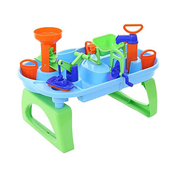 Игровой столик Полесье Водный мир № 4 в коробкеРазвивающие центры<br>Характеристики товара:<br><br>• возраст: от 3 лет;<br>• цвет: в ассортименте;<br>• комплект:бассейн с каналами, съемные ножки, кораблик, аксессуары;<br>• материал: пластик;<br>• размер игрушки в  собранном виде: 53 х 39.5 х 38 см.;<br>• размер упаковки: 59 х 39.5 х 19.5 см;<br>• упаковка: картонная коробка;<br>• наименование бренда, страна бренда: Полесье, Беларусь;<br>• страна изготовитель: Беларусь.<br><br>Игровой набор «Водный мир №4» - это настоящий комплекс, включающий в себя множество игр для увлекательного и полезного досуга. Прежде чем приступить к игре, бассейн необходимо наполнить водой. Дальнейший ход событий зависит от фантазии малыша.<br><br>На поверхность воды можно опустить кораблик и, вращая лопасти пропеллера, заставить его плыть по течению. Подъемный кран позволяет ребенку поднять лодку и перенести ее в другой канал. Яркую водяную мельницу можно с легкостью привести в действие, налив жидкость в воронку, а водяной насос дает малышу возможность накачать водичку в ковшик.<br>Игровой бассейн оснащен шлюзами, которые можно открывать и закрывать на свое усмотрение.<br><br>Сюжетно-ролевые игры развивают фантазию у детей, расширяют их кругозор<br><br>Игровой набор «Водный мир №4», в коробке, Полесье можно купить в нашем интернет-магазине.<br>Ширина мм: 590; Глубина мм: 165; Высота мм: 395; Вес г: 1598; Возраст от месяцев: 12; Возраст до месяцев: 36; Пол: Женский; Возраст: Детский; SKU: 7191579;