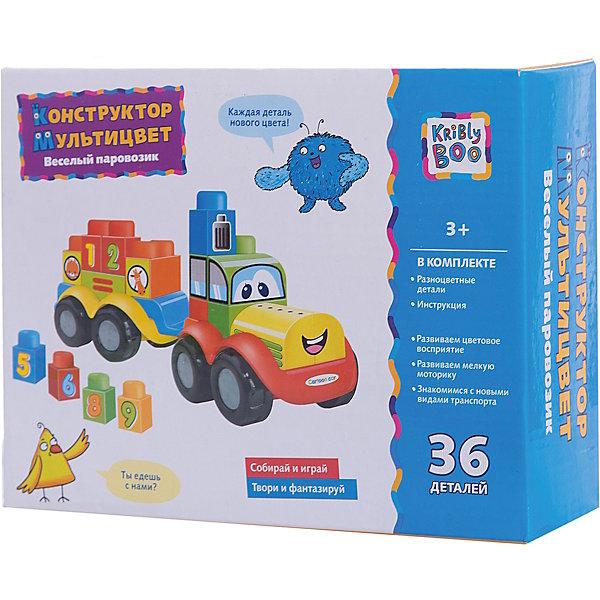 Конструктор Мультицвет Веселый паровозик, Kribly BooПластмассовые конструкторы<br>Даже самые маленькие дети теперь легко и весело смогут освоить основы конструирования и основы математики. А сколько пространства для фантазии: не каждый взрослый сможет решить задачку «9 минус жираф». Но это не просто веселая игра – в процессе сборки ребенок тренирует мелкую моторику, развивает сенсорное восприятие и наблюдательность. <br>В наборе 36 деталей. Товар полностью сертифицирован и соответствует ТР ТС 008/2011 «О безопасности игрушек». Предназначен для использования детьми в возрасте от 3 лет.<br>Ширина мм: 230; Глубина мм: 175; Высота мм: 70; Вес г: 308; Возраст от месяцев: 36; Возраст до месяцев: 2147483647; Пол: Унисекс; Возраст: Детский; SKU: 7192746;