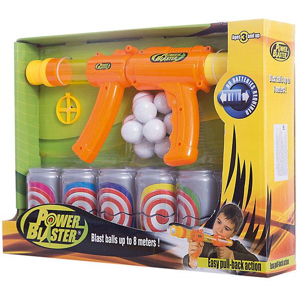 Бластер Toy Target Power Blaster с банками, (оранжевый)Игрушечные пистолеты и бластеры<br>Характеристики:<br><br>• тип игрушки: оружие;<br>• возраст: от 3 лет;<br>• размер: 43x8х32 см;<br>• вес: 83 гр; <br>• комплектация:  бластер, прицел, 9 мягких шаров для стрельбы, 6 мишеней;<br>• материал: пластик, поролон;<br>• бренд:  Toy Target.<br><br>Игрушечное оружие «Power Blaster» станет замечательным подарком для каждого мальчика, ведь с этой игрушкой тренировать меткость можно уже с раннего возраста. Благодаря специальной конструкции бластера поролоновые шарики заряжаются и стреляют без использования батареек - в ствол встроена адаптированная для детей ручная помпа. <br><br>Цели можно поражать на расстоянии до восьми метров, при этом для стрельбы одновременно заряжаются до девяти снарядов. Оружие Power Blaster работает от ручной помпы, поэтому не требуются никакие батарейки. Заряжается бластер одновременно 6 шарами. Поражение цели на расстоянии до 8 м.<br><br>Игрушечное оружие «Power Blaster» можно купить в нашем интернет-магазине<br>Ширина мм: 430; Глубина мм: 80; Высота мм: 320; Вес г: 83; Возраст от месяцев: 36; Возраст до месяцев: 2147483647; Пол: Мужской; Возраст: Детский; SKU: 7193421;