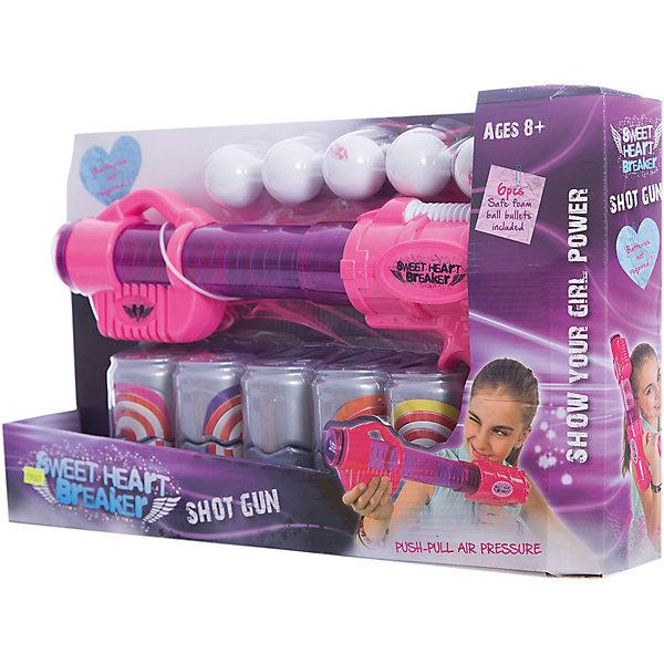 Бластер Toy Target Sweet Heart Breaker с банками, (розовый)Игрушечные пистолеты и бластеры<br>Характеристики:<br><br>• тип игрушки: оружие;<br>• возраст: от 3 лет;<br>• размер: 50x8х31 см;<br>• вес: 100  гр; <br>• комплектация:  бластер; 6 шаров; 5 мишеней;<br>• материал: пластик, поролон;<br>• бренд:  Toy Target.<br><br>Игрушечное оружие «Sweet Heart Breaker» предназначен для активных игр на свежем воздухе. Игрушка выполнена из высококачественного, нетоксичного пластика и имеет стильную розовую расцветку, которая отлично подойдет для юной леди. <br><br>Бластер имеет полупрозрачный корпус, удобный спусковой крючок и эргономичную рукоятку. Благодаря небольшому весу, игрушкой легко управлять и совершать активные перемещения. <br><br>Игрушечное оружие «Sweet Heart Breaker» можно купить в нашем интернет-магазине.<br><br>Ширина мм: 500<br>Глубина мм: 80<br>Высота мм: 310<br>Вес г: 100<br>Возраст от месяцев: 36<br>Возраст до месяцев: 2147483647<br>Пол: Мужской<br>Возраст: Детский<br>SKU: 7193427