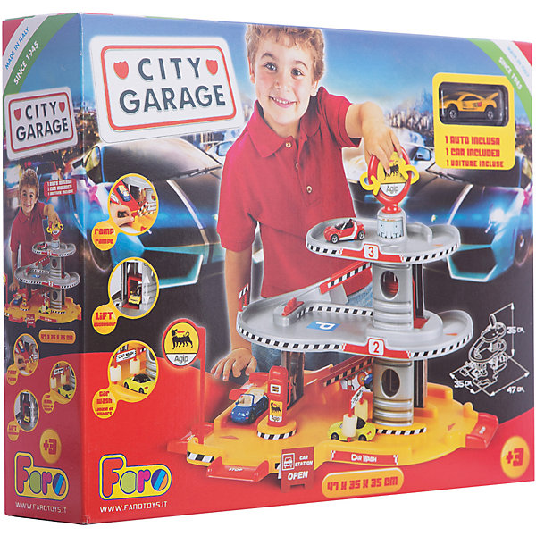 Игровой набор Faro Гараж 3 уровня, 45 смПарковки и гаражи<br>Характеристики:<br><br>• тип игрушки: игровой набор;<br>• возраст: от 3 лет;<br>• размер: 42x9,5x36 см;<br>• вес: 156  гр;<br>• комплектация: гараж, 3 машинки, аксессуары;<br>• упаковка: коробка;<br>• материал: пластик;<br>• бренд:  FARO.<br><br>Игровой набор «Гараж 3-уровневый» 45см - это три уровня парковочных мест для игрушечных машинок с дорожным полотном, спусками в виде горок, автозаправкой. Набор изготовлен из пластика, все элементы легко скрепляются между собой, поэтому ребенок без труда сможет поставить «Авто гараж». <br><br>В комплекте также идут 3 машинки, которые вы сможете запускать по автостраде. Все изделия выполнены из качественных материалов. Такой набор станет отличным подарком для детей от трех лет и старше.<br><br>Игровой набор «Гараж 3-уровневый» 45см можно купить в нашем интернет-магазине.<br>Ширина мм: 420; Глубина мм: 95; Высота мм: 360; Вес г: 156; Возраст от месяцев: 36; Возраст до месяцев: 2147483647; Пол: Мужской; Возраст: Детский; SKU: 7193453;