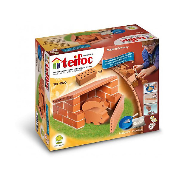 Конструктор из кирпичиков Teifoc СвинофермаКонструкторы из кирпичиков<br>Характеристики:<br><br>• возраст: от 6 лет<br>• в наборе: кирпичи; модели 2-х свинок; цемент; мастерок; чаша; инструкции для сборки<br>• материал: обожженная глина, речной песок, кукурузный крахмал, фанера<br>• упаковка: картонная коробка<br>• размер упаковки: 18х8х15 см.<br>• вес: 1,2 кг.<br><br>Строительный набор «Свиноферма» - это необычный конструктор, который позволит построить сарай для двух свинок.<br><br>Свиноферма строится из 35 миниатюрных кирпичиков, скрепляемых между собой при помощи клейкой цементной смеси, которая разводится в специальной чаше и наносится на кирпичики при помощи мастерка.<br><br>Цементная смесь растворима в воде, что позволяет многократно перестраивать собранную конструкцию — для этого нужно всего лишь положить постройку в воду на 3-4 часа, после чего смесь растворится, и можно строить заново.<br><br>Элементы набора изготовлены из натуральных материалов: кирпичики – из обожженной глины, а цементная смесь из речного песка и кукурузного крахмала.<br><br>Строительный набор поможет ребенку развить мелкую моторику рук, творческие способности, воображение, пространственное мышление и креативное мышление.<br><br>Строительный набор Свиноферма можно купить в нашем интернет-магазине.<br><br>Ширина мм: 180<br>Глубина мм: 80<br>Высота мм: 150<br>Вес г: 71<br>Возраст от месяцев: 72<br>Возраст до месяцев: 2147483647<br>Пол: Мужской<br>Возраст: Детский<br>SKU: 7193463