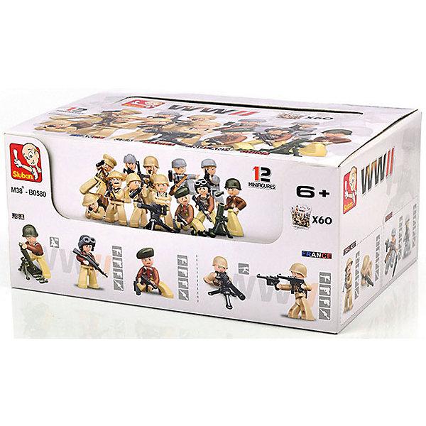 Конструктор Sluban Армия Фигурки героев, 60 штПластмассовые конструкторы<br>Характеристики:<br><br>• тип игрушки: конструктор;<br>• возраст: от 6 лет;<br>• комплектация: фигурки;<br>• количество деталей: 60 шт;<br>•  вес: 16 гр;<br>• размер: 11х20х8 см;<br>• тип упаковки: картонная коробка;<br>• материал: пластик;<br>• бренд: Sluban.<br><br>Конструктор пластмассовый «Фигурки героев: Армия», Sluban позволяет ребенку собрать игровую модель для веселой игры. Набор состоит из 60 пластиковых деталей. Большое количество разнообразных серий позволяет ребенку создавать целые города с развитой инфраструктурой, проводить полномасштабные военные операции, сражаться в море с пиратами и придумывать сказки.<br><br>Представленный конструктор поступает в продажу в шоубоксе и содержит 60 разных игрушек. Можно выбрать наиболее интересную модель. Обновлённая упаковка выполнена полностью на русском языке.<br><br> Конструктор пластмассовый «Фигурки героев: Армия», Sluban можно купить в нашем интернет-магазине.<br><br>Ширина мм: 80<br>Глубина мм: 110<br>Высота мм: 20<br>Вес г: 16<br>Возраст от месяцев: 72<br>Возраст до месяцев: 2147483647<br>Пол: Мужской<br>Возраст: Детский<br>SKU: 7193933
