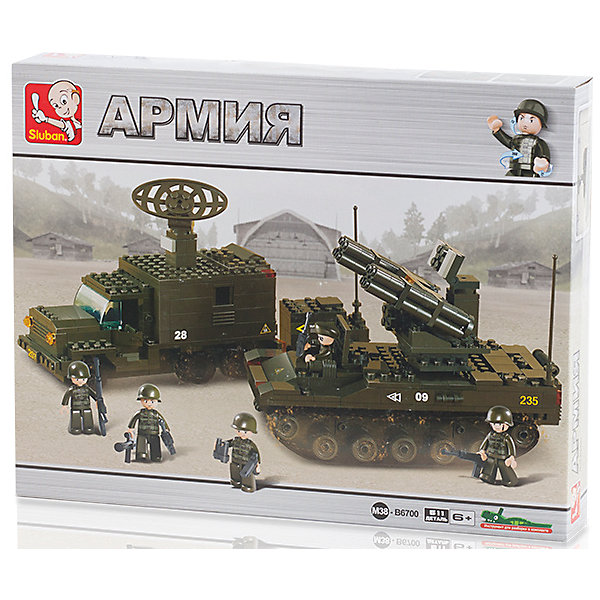 Конструктор Sluban Армия Боевая готовность, 511 деталейПластмассовые конструкторы<br>Характеристики:<br><br>• тип игрушки: конструктор;<br>• возраст: от 6 лет;<br>• комплектация: грузовик с солдатами, автомобиль с РЛС, джип, самоходная установка;<br>• количество деталей: 511 шт;<br>• вес: 820 гр;<br>• размер: 42x33x6 см;<br>• тип упаковки: картонная коробка;<br>• материал: пластик;<br>• бренд: Sluban.<br><br>Конструктор «Армия: Боевая готовность», Sluban раздвигает границы воображения ребенка. Большое количество разнообразных серий позволяет ребенку создавать целые города с развитой инфраструктурой, проводить полномасштабные военные операции, сражаться в море с пиратами и придумывать сказки. Представленный набор содержит 511 деталей. <br><br>Обновлённая упаковка выполнена полностью на русском языке. Инструмент для разборки конструктора в комплекте.<br>Данный конструктор большого размера подойдет для детей от шести лет. Благодаря занятиям с конструктором ребенок развивает усидчивость, мышление, моторику рук. Этот набор особенно понравится любителям военной тематики.<br><br>Конструктор «Армия: Боевая готовность», Sluban можно купить в нашем интернет-магазине.<br><br>Ширина мм: 420<br>Глубина мм: 330<br>Высота мм: 60<br>Вес г: 820<br>Возраст от месяцев: 72<br>Возраст до месяцев: 2147483647<br>Пол: Мужской<br>Возраст: Детский<br>SKU: 7193943