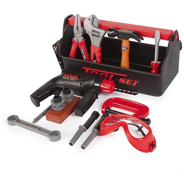 Набор инструментов Altacto Папин помощник, 22 предметаНаборы инструментов<br>Характеристики товара:<br><br>• возраст: от 3 лет;<br>• размер упаковки: 28х13х15 см.;<br>• количество предметов: 22;<br>• состав: пластик;<br>• упаковка: платиковый кейс;<br>• вес в упаковке: 600 гр.;<br>• бренд, страна: ALTACTO, Китай;<br>• страна-производитель: Китай.<br><br>Игровой набор «Папин помощник» от Altacto станет отличным подарком для маленького мастера.<br><br>В наборе имеется все, что может пригодиться юному строителю: инерционная дрель с дополнительной рукояткой, разводной ключ, гаечный ключ, струбцина, молоток, отвертка, пассатижи, защитные очки, скобяные изделия. Все инструменты упакованы в пластиковый ящик, ручка которого одновременно является строительной линейкой.<br><br>Все изделия набора изготовлены из нетоксичного и качественного материала.<br><br>Малыш сможет отремонтировать игрушки и устранить все неисправности в доме, помогая папе. Игры с этим набором способствуют развитию воображения и познавательного мышления.<br><br>Игровой набор «Папин помощник», 22 предмета, Altacto можно купить в нашем интернет-магазине.<br>Ширина мм: 280; Глубина мм: 128; Высота мм: 148; Вес г: 580; Возраст от месяцев: 36; Возраст до месяцев: 2147483647; Пол: Мужской; Возраст: Детский; SKU: 7194138;