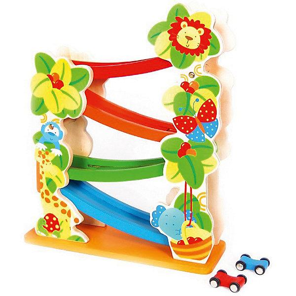 Деревянная горка Altacto ДжунглиРазвивающие игрушки<br>Характеристики товара:<br><br>• возраст: от 3 лет;<br>• комплект: горка, 2 машинки;<br>• размер упаковки: 30х11х36,5 см.;<br>• состав: дерево;<br>• упаковка: пакет;<br>• вес в упаковке: 2,5 кг.;<br>• бренд, страна: ALTACTO, Китай;<br>• страна-производитель: Китай.<br><br>Деревянная игрушка «Горка» от Altacto - эта увлекательная игрушка для малышей. В комплекте с горкой 2 машинки красного и синего цветов, которые будут наперегонки гонять вниз. <br><br>Горка сделана качественно, поверхности гладкие, без зазубринок. Игрушка выполнена из экологически чистого материала и раскрашена натуральными красками.<br><br>Ребёнок научится различать цвета и формы, стимулирует логику и воображение, тренирует мелкую моторику.<br><br>Деревянная игрушка «Горка», 2 машинки, Altacto можно купить в нашем интернет-магазине.<br><br>Ширина мм: 300<br>Глубина мм: 110<br>Высота мм: 36<br>Вес г: 2500<br>Возраст от месяцев: 12<br>Возраст до месяцев: 2147483647<br>Пол: Унисекс<br>Возраст: Детский<br>SKU: 7194164