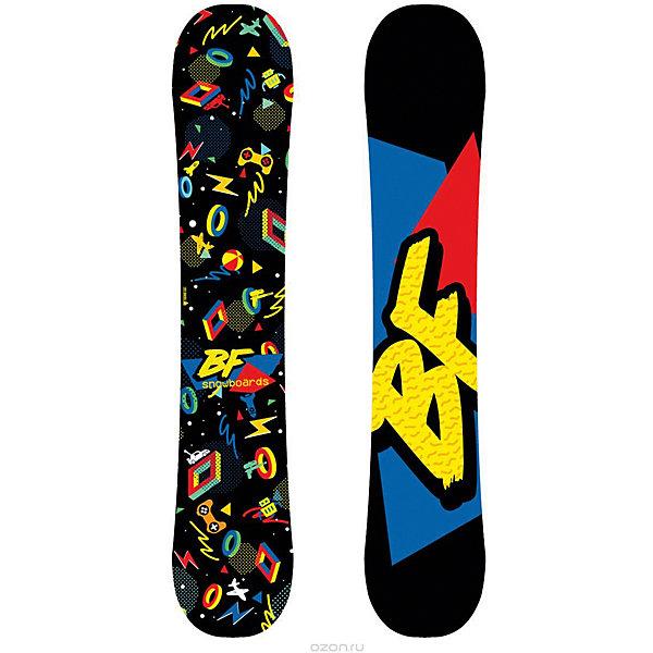 Сноуборд BF snowboards Techno, 120 смЛыжи и сноуборды<br>Характеристики товара:<br><br>• ростовка: 120;<br>• материал: дерево, пластик, сталь, стекловолокно;<br>• прогиб: classic camber;<br>• сердечник: тополь;<br>• закладные: 3х2;<br>• конструкция: Full Cap, Twin Tip;<br>• кант: steel edge, 48HRC;<br>• жесткость: средняя;<br>• уровень катания: начинающий/продолжающий;<br>• размер упаковки: 120х25х0,8 см.<br><br>С прекрасным сноубордом Techno дети смогут научиться кататься и даже выполнять свои первые трюки. Благодаря структуре Cap сноуборд имеет облегченный вес, что позволяет юному сноубордисту выполнять разнообразные трюки. Изделие выполнено в ярких цветах, привлекающих внимание начинающего спортсмена.<br><br>Сноуборд BF snowboards 2017-18 Techno (см:120) можно купить в нашем интернет-магазине.<br><br>Ширина мм: 1380<br>Глубина мм: 274<br>Высота мм: 8<br>Вес г: 2000<br>Возраст от месяцев: 84<br>Возраст до месяцев: 168<br>Пол: Женский<br>Возраст: Детский<br>SKU: 7195890