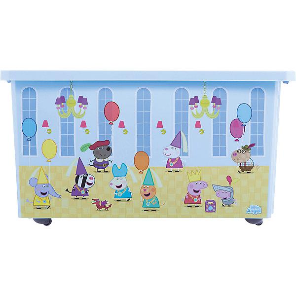 Ящик для хранения игрушек Little Angel Свинка Пеппа, 57 л., на колесах (голубой)Ящики для игрушек<br>Характеристики:<br><br>• принт: Свинка Пеппа<br>• материал: полипропилен<br>• объем: 57 л.<br>• размер: 61х40,5х33 см.<br>• вес: 2,14 кг.<br><br>Большой ящик на колесах «Свинка Пеппа» - это лучшее решение для поддержания порядка в детской. С ним все игрушки ребенка будут собраны в одном месте.<br><br>Ящик плотно закрывается надежной крышкой с привлекательной текстурой. Эффективные колеса-роллеры на дне позволят легко перемещать ящик.<br><br>Яркий декор с любимыми героями на всех сторонах ящика наполнит детскую радостью и поможет приучить малыша к порядку. Декор ящика износоустойчив, ящик можно мыть без опасения испортить рисунок.<br><br>При покупке нескольких ящиков предусмотрена возможность штабелирования их друг на друга.<br><br>Детский ящик для хранения 57л X-BOX Свинка Пеппа на колесах, голубой можно купить в нашем интернет-магазине.<br><br>Ширина мм: 610<br>Глубина мм: 405<br>Высота мм: 330<br>Вес г: 2140<br>Возраст от месяцев: 36<br>Возраст до месяцев: 84<br>Пол: Унисекс<br>Возраст: Детский<br>SKU: 7196247