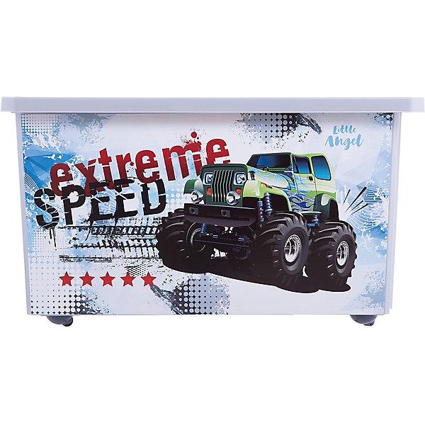 Ящик для хранения игрушек Little Angel Супер Трак, 57 л., на колесахЯщики для игрушек<br>Характеристики:<br><br>• принт: Супер Трак<br>• материал: полипропилен<br>• объем: 57 л.<br>• размер: 61х40,5х33 см.<br>• вес: 2,14 кг.<br><br>Большой ящик на колесах «Супер Трак» - это лучшее решение для поддержания порядка в детской. С ним все игрушки ребенка будут собраны в одном месте.<br><br>Ящик плотно закрывается надежной крышкой с привлекательной текстурой. Эффективные колеса-роллеры на дне позволят легко перемещать ящик.<br><br>Ящик декорирован с помощью технологии IML, которая придает ему не только привлекательный дизайн, но и дополнительную прочность и износоустойчивость. Ящик можно мыть без опасения испортить рисунок.<br><br>При покупке нескольких ящиков предусмотрена возможность штабелирования их друг на друга.<br><br>Детский ящик для хранения 57л X-BOX Супер Трак на колесах можно купить в нашем интернет-магазине.<br>Ширина мм: 610; Глубина мм: 405; Высота мм: 330; Вес г: 2140; Возраст от месяцев: 36; Возраст до месяцев: 84; Пол: Мужской; Возраст: Детский; SKU: 7196265;