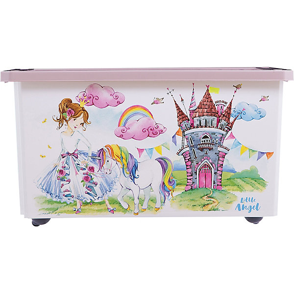Ящик для хранения игрушек Little Angel Сказочная принцесса, 57 л., на колесахЯщики для игрушек<br>Характеристики:<br><br>• принт: Принцессы<br>• материал: полипропилен<br>• объем: 57 л.<br>• размер: 61х40,5х33 см.<br>• вес: 2,14 кг.<br><br>Большой ящик на колесах «Сказочная Принцесса» - это лучшее решение для поддержания порядка в детской. С ним все игрушки ребенка будут собраны в одном месте.<br><br>Ящик плотно закрывается надежной крышкой с привлекательной текстурой. Эффективные колеса-роллеры на дне позволят легко перемещать ящик.<br><br>Ящик декорирован с помощью технологии IML, которая придает ему не только привлекательный дизайн, но и дополнительную прочность и износоустойчивость. Ящик можно мыть без опасения испортить рисунок.<br><br>При покупке нескольких ящиков предусмотрена возможность штабелирования их друг на друга.<br><br>Детский ящик для хранения 57л X-BOX Сказочная Принцесса на колесах можно купить в нашем интернет-магазине.<br>Ширина мм: 610; Глубина мм: 405; Высота мм: 330; Вес г: 2140; Возраст от месяцев: 36; Возраст до месяцев: 84; Пол: Женский; Возраст: Детский; SKU: 7196267;