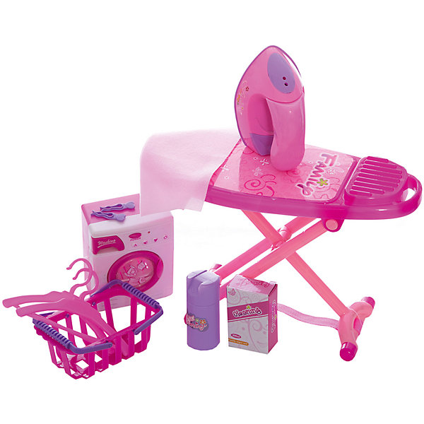 Набор для уборки Shantou Gepai Набор для глажки и стирки, розовыйНаборы для уборки<br>Характеристики:<br><br>• тип игрушки: игровой набор;<br>• возраст: от 3 лет;<br>• упаковка: пластик;<br>• размер: 26х8х45 см;<br>• вес: 519 гр;<br>• бренд: Shantou Gepai. <br><br>Набор для глажки и стирки розовый непременно приведет в восторг маленькую хозяйку. Такие игрушки помогают детям тренировать мелкую моторику рук и развивать воображение. В комплект входит стиральная машинка, которая выглядит совсем как настоящая! Стоит только нажать на кнопочку POWER, как барабан машины начнет вращаться под соответствующие стирке звуки. Внутри дверки - вода, которая придает игрушке еще большую реалистичность. <br><br>А если провести утюгом по поверхности гладильной доски, он начнет светиться и вибрировать. В комплект также входят две маленькие вешалки для одежды, корзина для белья, прищепки и флакончик со «стиральным порошком». Изделие изготовлено из пластика, предназначено для использования детьми в возрасте от 3-х лет.<br><br>Набор для глажки и стирки розовый  можно купить в нашем интернет-магазине.<br>Ширина мм: 260; Глубина мм: 80; Высота мм: 450; Вес г: 519; Возраст от месяцев: 36; Возраст до месяцев: 2147483647; Пол: Женский; Возраст: Детский; SKU: 7196533;