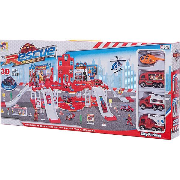 Парковка Shantou Gepai Пожарная служба 2 уровня + 3 машины и вертолетПарковки и гаражи<br>Характеристики:<br><br>• тип игрушки: парковка;<br>• возраст: от 3 лет;<br>• упаковка: пластик;<br>• размер: 57х5,5х26 см;<br>• вес: 975 гр;<br>• бренд: Shantou Gepai. <br><br>Парковка «Пожарная служба» 2 уровня понравится любителем машинок и гонок.  Аварийно-спасательная станция Rescue Fire Station позволит ребенку поучаствовать в захватывающей жизни героев пожарной службы. Парковка  имеет 2 уровня и оснащена многочисленными спусками. Также в наборее имеются аксессуары в виде дорожных знаков, что сделает игру более увлекательной. <br><br>Для начала игры необходимо собрать детали парковочной станции, и далее, имея в распоряжении 3 пожарные машинки и вертолет, разыгрывать различные и непростые ситуации, с которыми сталкиваются сами профессионалы. Ребенок сможет почувствовать себя настоящим спасателем, вживаясь в роль пожарного.<br><br>Игра с данным набором поспособствует развитию логического мышления, воображения и подарит массу положительных эмоций. Ребенок придет в восторг от такого набора. Игрушка отлично подходит в виде подарка для детей от трех лет и старше.<br><br>Парковку «Пожарная служба» 2 уровня можно купить в нашем интернет-магазине.<br>Ширина мм: 570; Глубина мм: 55; Высота мм: 260; Вес г: 975; Возраст от месяцев: 36; Возраст до месяцев: 2147483647; Пол: Мужской; Возраст: Детский; SKU: 7196547;