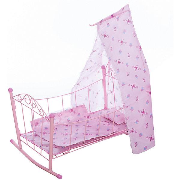 Кроватка-люлька с балдахином 48*35.5*58 см, в асс-теМебель для кукол<br>Характеристики:<br>• кроватка для кукол;<br>• функция качалки – специальные полозья;<br>• металлический прочный каркас;<br>• кроватка с балдахином;<br>• кружевная отделка;<br>• принт: бабочки и цветы;<br>• в комплекте постельное белье;<br>• материал: металл, полиэстер;<br>• размер кроватки в собранном виде: 48х35,5х58 см;<br>• вес: 800 г.<br>Игрушечная кроватка для кукол позволяет девочке создать уют для куколки, уложить подружку спать, проявить заботу и внимание. Кроватка с балдахином выполнена в розовых тонах, балдахин закрывает куколку от яркого солнечного света и посторонних глаз. Балдахин мягко спускается книзу, крепится на специальном держателе. Кроватка-люлька на полозьях помогает куколке быстрее уснуть, когда маленькая «мамочка» начнет ласково качать куколку в кроватке.<br>Кроватку-люльку с балдахином 48х35.5х58 см, в ассортименте можно купить в нашем интернет-магазине.<br>Ширина мм: 295; Глубина мм: 50; Высота мм: 530; Вес г: 958; Возраст от месяцев: 36; Возраст до месяцев: 2147483647; Пол: Женский; Возраст: Детский; SKU: 7196553;