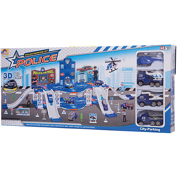 Парковка Shantou Gepai Полиция 2 уровня + 3 машины и вертолетПарковки и гаражи<br>Характеристики:<br><br>• тип игрушки: парковка;<br>• возраст: от 3 лет;<br>• упаковка: пластик;<br>• размер: 57х6х26 см;<br>• вес: 939 гр;<br>• бренд: Shantou Gepai. <br><br>Парковка «Полиция», 2 уровня, 3 машины,  вертолет  понравится любителем машинок и гонок Комплект данного набора состоит из парковки-гаража, 3 машинок, вертолета и аксессуаров. Дети с удовольствием соберут данную парковку и придумают захватывающие остросюжетные игровые сценарии. Играя с данным набором, мальчики смогут вообразить себя истинными блюстителями общественного порядка и проведут много игровых спасательных операций.<br><br>Игра с данным набором поспособствует развитию логического мышления, воображения и подарит массу положительных эмоций. Ребенок придет в восторг от такого набора. Игрушка отлично подходит в виде подарка для детей от трех лет и старше.<br><br>Парковку «Полиция», 2 уровня, 3 машины,  вертолет  можно купить в нашем интернет-магазине.<br>Ширина мм: 570; Глубина мм: 60; Высота мм: 260; Вес г: 939; Возраст от месяцев: 36; Возраст до месяцев: 2147483647; Пол: Мужской; Возраст: Детский; SKU: 7196565;