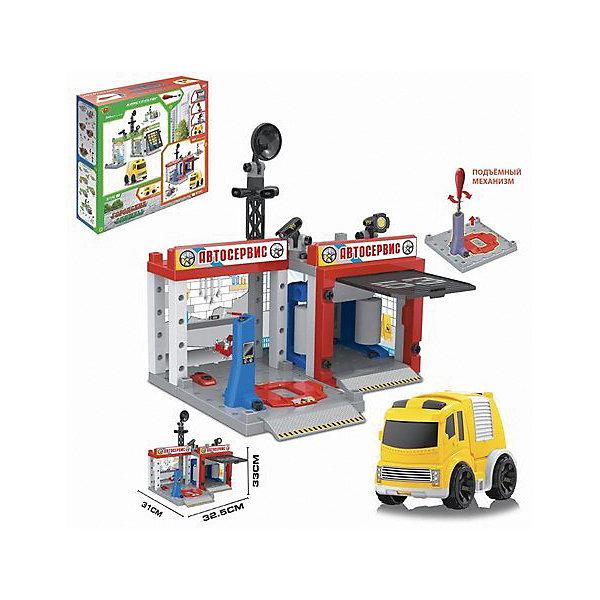 Игровой набор Shantou Gepai АвтосервисПарковки и гаражи<br>Характеристики:<br><br>• тип игрушки: игровой набор;<br>• возраст: от 3 лет;<br>• упаковка: пластик, металл;<br>• размер: 34х7х30 см;<br>• комплектация: 67 деталей;<br>• вес: 1,1 кг;<br>• бренд: Shantou Gepai. <br><br>Игровой набор «Автосервис»,  67 деталей -  это увлекательный игровой набор, который станет приятным сюрпризом для любого мальчишке, в игрушечном гараже которого хранится множество различных машинок. Теперь каждая из них сможет починить свои полломки в  игрушечном сервисе. С таким набором ребенок забудет про скуку, придумывая и разыгрывая увлекательные игровые истории.<br><br>Все детали набора выполнены из безопасного пластика и металлических элементов. Они прошли проверку на безопасность для детей. Набор подходит детей от трех лет и старше. <br><br>Игровой набор «Автосервис»,  67 деталей можно купить в нашем интернет-магазине.<br>Ширина мм: 340; Глубина мм: 70; Высота мм: 300; Вес г: 1104; Возраст от месяцев: 36; Возраст до месяцев: 2147483647; Пол: Мужской; Возраст: Детский; SKU: 7196575;