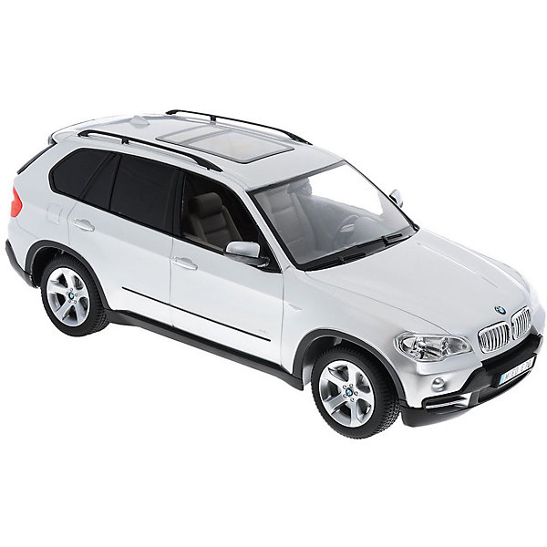 Радиоуправляемая машина Rastar BMW X5, 1:14 (серебристая)Радиоуправляемые машины<br>Характеристики:<br><br>• радиоуправляемая машинка на пульте управления;<br>• частота 27MHz;<br>• радиус действия пульта: до 45 м;<br>• время непрерывной работы: 45 минут;<br>• независимая система подвески;<br>• движение вперед-назад, повороты вправо-влево;<br>• во время движения светятся фары;<br>• скорость движения: 12 км/ч;<br>• масштаб: 1:14;<br>• тип батареек: 5 шт. типа АА (автомобиль) + 1 шт. типа крона 9V (пульт управления);<br>• батарейки приобретаются отдельно;<br>• материал: металл, пластик, резина;<br>• длина машинки: 35 см;<br>• размер упаковки: 46х22х20 см; <br>• вес в упаковке: 1,5 кг.<br><br>Радиоуправляемая модель машины BMW X5 сможет привлечь внимание своим стильным оформлением. Дизайн машинки выполнен очень реалистично и почти копирует внешний вид настоящего автомобиля, поэтому играть с ней будет намного интереснее. Корпус машинки окрашен в серый цвет. Движениями игрушки можно управлять на расстоянии с помощью специального пульта, при этом длина действия радиоволн будет составлять тридцать метров. Это максимальное расстояние, на которое машинка сможет удалиться от своего владельца. Во время игры автомобиль может развивать скорость от семи до десяти километров в час, ускоряясь или замедляясь в зависимости от желания игрока. Масштаб модели 1:14. <br><br>Машину р/у Rastar BMW x5 1:14 со светом, цвет серый можно купить в нашем интернет-магазине.<br><br>Ширина мм: 460<br>Глубина мм: 220<br>Высота мм: 200<br>Вес г: 1530<br>Возраст от месяцев: 72<br>Возраст до месяцев: 144<br>Пол: Мужской<br>Возраст: Детский<br>SKU: 7196983