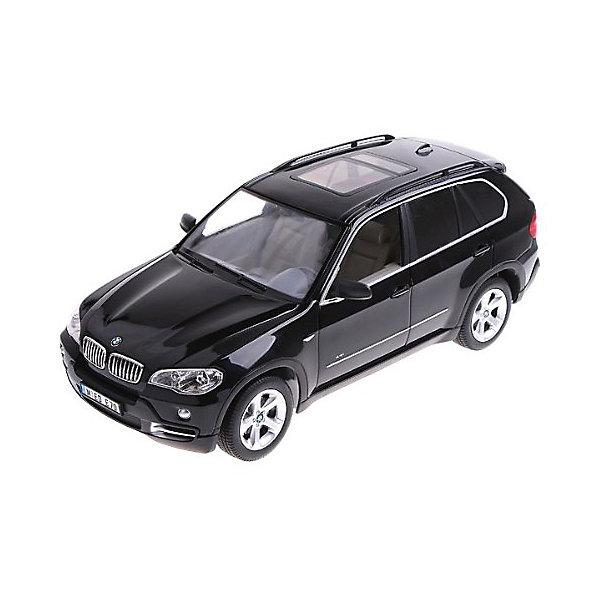 Радиоуправляемая машина Rastar BMW X5, 1:14 (черная)Радиоуправляемые машины<br>Характеристики:<br><br>• радиоуправляемая машинка на пульте управления;<br>• частота 27MHz;<br>• радиус действия пульта: до 45 м;<br>• время непрерывной работы: 45 минут;<br>• независимая система подвески;<br>• движение вперед-назад, повороты вправо-влево;<br>• во время движения светятся фары;<br>• скорость движения: 12 км/ч;<br>• масштаб: 1:14;<br>• тип батареек: 5 шт. типа АА (автомобиль) + 1 шт. типа крона 9V (пульт управления);<br>• батарейки приобретаются отдельно;<br>• материал: металл, пластик, резина;<br>• длина машинки: 35 см;<br>• размер упаковки: 46х22х20 см; <br>• вес в упаковке: 1,5 кг.<br><br>Радиоуправляемая модель машины BMW X5 сможет привлечь внимание своим стильным оформлением. Дизайн машинки выполнен очень реалистично и почти копирует внешний вид настоящего автомобиля, поэтому играть с ней будет намного интереснее. Корпус машинки окрашен в черный глянцевый цвет. Движениями игрушки можно управлять на расстоянии с помощью специального пульта, при этом длина действия радиоволн будет составлять тридцать метров. Это максимальное расстояние, на которое машинка сможет удалиться от своего владельца. Во время игры автомобиль может развивать скорость от семи до десяти километров в час, ускоряясь или замедляясь в зависимости от желания игрока. Масштаб модели 1:14. <br><br>Машину р/у Rastar BMW x5 1:14 со светом, цвет черный можно купить в нашем интернет-магазине.<br>Ширина мм: 460; Глубина мм: 220; Высота мм: 200; Вес г: 1530; Возраст от месяцев: 72; Возраст до месяцев: 144; Пол: Мужской; Возраст: Детский; SKU: 7196987;