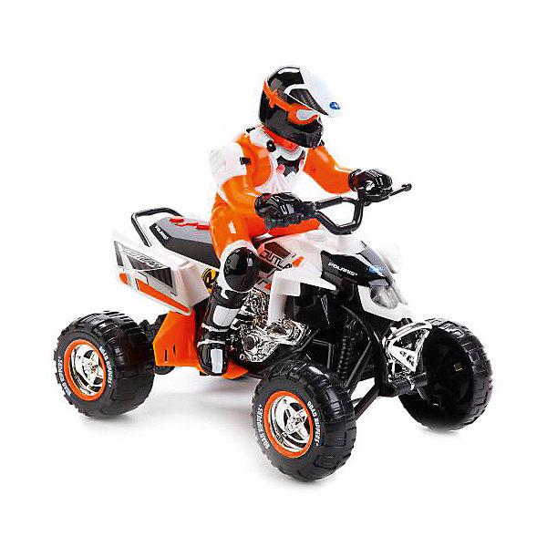 Квадроцикл Toystate с гонщиком (бело-оранжевый)Машинки<br>Характеристики:<br><br>• транспортное средство с гонщиком;<br>• световые и звуковые эффекты;<br>• веселые мелодии;<br>• материал: металл, пластик;<br>• тип батареек: 3 шт. типа АА;<br>• батарейки приобретаются отдельно;<br>• длина квадроцикла: 25 см;<br>• размер упаковки: 30х16х26 см; <br>• вес в упаковке: 1050 кг.<br><br>Игрушечный квадроцикл с фигуркой гонщика оснащен свето-звуковыми эффектами. Прочный корпус транспортного средства выполнен из комбинированного пластика и металла. В процессе игры развивается координация движений, слуховое и зрительное восприятие. <br><br>Квадроцикл/трицикл со светом и звуком, с гонщиком, оранжево-белый можно купить в нашем интернет-магазине.<br>Ширина мм: 300; Глубина мм: 160; Высота мм: 260; Вес г: 1050; Возраст от месяцев: 36; Возраст до месяцев: 84; Пол: Мужской; Возраст: Детский; SKU: 7196991;