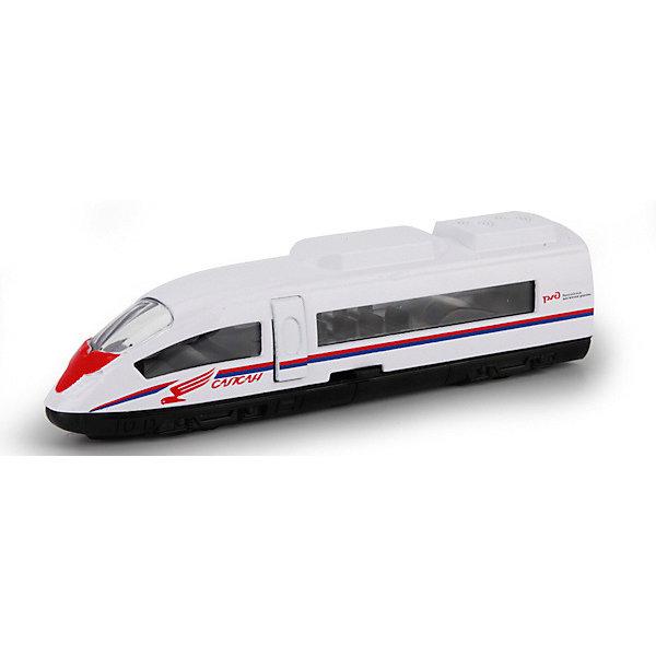 Металлический паровозик Технопарк СапсанЖелезные дороги<br>Характеристики:<br><br>• тщательная детализация;<br>• металлический корпус;<br>• вращающиеся колеса;<br>• длина вагончика: 7,5 см;<br>• размер упаковки: 13х3х11 см;<br>• вес: 60 г.<br><br>Вагончик предназначен для игры в железную дорогу. Металлический корпус игрушки является прочным и долговечным. Колесики хорошо вращаются, не заедают. Вагончики тщательно детализированы, узнаваемый внешний вид позволяет отличить вагон метро от электровоза и высокоскоростного поезда Сапсан.<br><br>Модель Поезд Сапсан РЖД металлический 7,5 см можно купить в нашем интернет-магазине.<br>Ширина мм: 130; Глубина мм: 30; Высота мм: 110; Вес г: 60; Возраст от месяцев: 36; Возраст до месяцев: 84; Пол: Мужской; Возраст: Детский; SKU: 7196993;