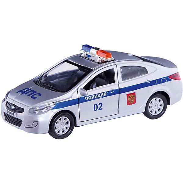 Машинка Технопарк Hyundai Solaris Полиция, 12 смМашинки<br>Характеристики:<br><br>• возраст: от 3 лет<br>• размер машины: 12 см.<br>• материал: металл, элементы из пластика<br>• упаковка: картонная коробка блистерного типа<br>• размер упаковки: 18х7х13 см.<br>• вес: 170 гр.<br><br>Машина Hyundai Solaris Полиция - это реалистично выполненная модель полицейского автомобиля.<br><br>Машина детально проработана. Автомобиль окрашен в характерные серо-синие цвета, имеются надписи на кузове, мигалки на крыше. У машины открываются передние двери и багажник, что позволят рассмотреть реалистичный салон. Машина оснащена инерционным механизмом.<br><br>Игрушка изготовлена из металла, некоторые элементы выполнены из ударопрочного пластика, окрашена безвредными для здоровья ребенка красителями.<br><br>Машину Hyundai Solaris Полиция металлическую, инерционную 12см, открывающиеся двери можно купить в нашем интернет-магазине.<br>Ширина мм: 80; Глубина мм: 70; Высота мм: 130; Вес г: 170; Возраст от месяцев: 36; Возраст до месяцев: 84; Пол: Мужской; Возраст: Детский; SKU: 7197174;