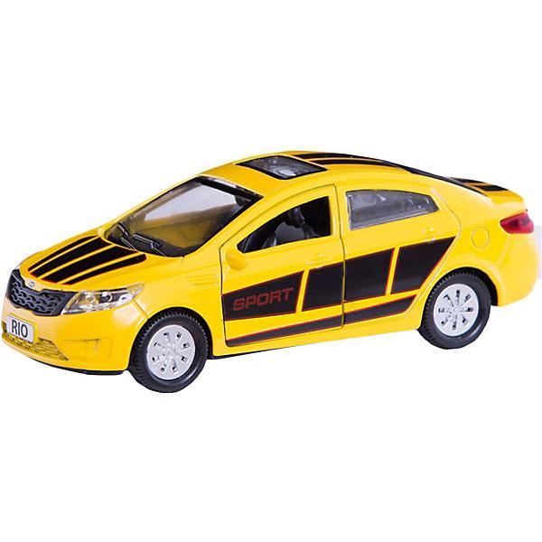 Машинка Технопарк Kia Rio, 12 смМашинки<br>Характеристики:<br><br>• возраст: от 3 лет<br>• размер машины: 12 см.<br>• материал: металл, элементы из пластика<br>• упаковка: картонная коробка блистерного типа<br>• размер упаковки: 8х7х13 см.<br>• вес: 170 гр.<br><br>Машина Kia Rio - это реалистично выполненная модель легкового спортивного автомобиля.<br><br>Машина прекрасно детализирована. Отличительные черты данной модели - красочный оригинальный дизайн, выполненный в ярком желтом цвете и дополненный интересными элементами красного и черного цвета. У машины открываются передние двери и багажник, что позволяет рассмотреть реалистичный салон. Машина оснащена инерционным механизмом.<br><br>Игрушка изготовлена из металла, некоторые элементы выполнены из ударопрочного пластика, окрашена безвредными для здоровья ребенка красителями.<br><br>Машину Kia Rio металлическую инерционную 12см, открывающиеся двери и багажник можно купить в нашем интернет-магазине.<br>Ширина мм: 180; Глубина мм: 70; Высота мм: 130; Вес г: 170; Возраст от месяцев: 36; Возраст до месяцев: 84; Пол: Мужской; Возраст: Детский; SKU: 7197180;