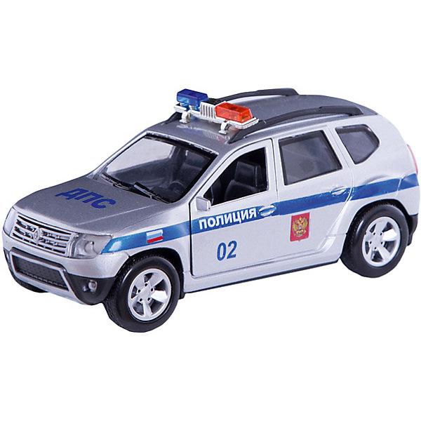 Машинка Технопарк Renault Duster Полиция, 12 смМашинки<br>Характеристики:<br><br>• возраст: от 3 лет<br>• размер машины: 12 см.<br>• материал: металл, элементы из пластика<br>• упаковка: картонная коробка блистерного типа<br>• размер упаковки: 8х7х13 см.<br>• вес: 180 гр.<br><br>Коллекционная машина Renault Duster: Полиция - это реалистично выполненная модель полицейского автомобиля.<br><br>Машина детально проработана. Автомобиль окрашен в белый цвет с голубыми полосками, имеются надписи на капоте и на дверях, и мигалки на крыше. У машины открываются передние двери и багажник, что позволят рассмотреть реалистичный салон. Машина оснащена инерционным механизмом.<br><br>Игрушка изготовлена из металла, некоторые элементы выполнены из ударопрочного пластика, окрашена безвредными для здоровья ребенка красителями.<br><br>Машину Renault Duster Полиция металлическую инерционную 12см, открывающиеся двери. можно купить в нашем интернет-магазине.<br>Ширина мм: 180; Глубина мм: 70; Высота мм: 130; Вес г: 180; Возраст от месяцев: 36; Возраст до месяцев: 84; Пол: Мужской; Возраст: Детский; SKU: 7197186;