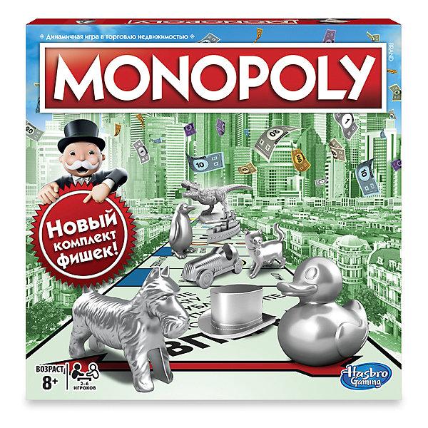 Настольная игра Hasbro Games Классическая монополия (обнолвенная версия)Экономические настольные игры<br>Характеристики товара:<br><br>• возраст 8+;<br>• в комплекте:  игровое поле, 8 фишек, 28 Карточек Собственника, 16 Карточек Шанс, 16 карточек Общественная казна, 1 пачка денег, 32 дома, 12 отелей, 2 кубика, инструкция;<br>• материал: пластик, картон, бумага;<br>• размер упаковки: 40х27х5см;<br>• вес упаковки: 900гр.;<br>• страна бренда: США<br><br>Новое издание классической Монополии с 8 фишками, за которые проголосовали фанаты в начале 2017 года! Дети и взрослые могут  почувствовать себя настоящими магнатами высокого полета. Покупай собственность, инвестируй в дома и отели, собирай ренту и заключай выгодные сделки со своими оппонентами. <br><br>Настольную игру Hasbro Games Классическая монополия (обнолвенная версия) можно купить в нашем интернет-магазине.<br>Ширина мм: 41; Глубина мм: 400; Высота мм: 267; Вес г: 900; Возраст от месяцев: 96; Возраст до месяцев: 2147483647; Пол: Унисекс; Возраст: Детский; SKU: 7197988;