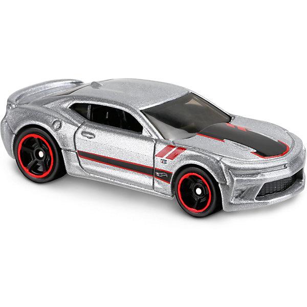 Базовая машинка Hot Wheels, 16 Camaro SSПопулярные игрушки<br>Характеристики:<br><br>• возраст: от 3 лет;<br>• тип игрушки: легковой транспорт;<br>• цвет: серый;<br>• особенности: инерционная;<br>• материал: пластик, металл; <br>• размер: 11х4,5х11 см;<br>• вес: 30 гр;<br>• страна бренда: США;<br>• страна производитель: Китай;<br>• тип упаковки: блистер на картоне;<br>• эффекты: без эффектов.<br><br><br>Машинка Hot Wheels 16 Camaro SS от бренда Mattel представляет собой гоночный автомобиль, который станет достойным пополнением автопарка мальчика. Легендарная серия коллекционных машинок завоевала внимание всех детей. Быстрые и красочные  машинки Hot Wheels выглядят очень ярко и эффектно благодаря оригинальному дизайну. Они выполнены из металла и пластика, что гарантирует прочность и устойчивость к столкновениям. <br><br>Машинка раскрашена в серебристый цвет. Автомобиль создан из проверенных и безопасных материалов. Его особенность - стильный гоночный дизайн и литое днище, предохраняющее ее от поломок во время случайных падений. Благодаря опущенным боковым стеклам, можно хорошо рассмотреть внутреннее оснащение салона. Игрушка выполнена из безопасных и нетоксичных материалов.<br><br>Стильная игрушка станет отличным подарком для ребенка от трех лет. Кроме того, малыш сможет собрать целую коллекцию этих популярных машинок и обмениваться ими с друзьями. Машинка Hot Wheels 16 Camaro SS  во время гонки не оставит равнодушным ни одного мальчика. <br><br>Машинку Hot Wheels 16 Camaro SS  можно купить в нашем интернет-магазине.<br>Ширина мм: 110; Глубина мм: 45; Высота мм: 110; Вес г: 30; Возраст от месяцев: 36; Возраст до месяцев: 96; Пол: Мужской; Возраст: Детский; SKU: 7198103;