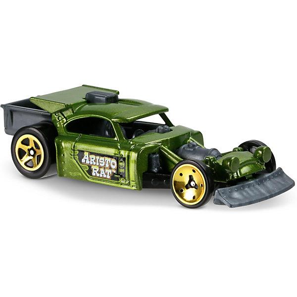 Базовая машинка Hot Wheels, Aristo RatПопулярные игрушки<br>Характеристики:<br><br>• возраст: от 3 лет;<br>• тип игрушки: легковой транспорт;<br>• цвет: зеленый;<br>• особенности: инерционная;<br>• материал: пластик, металл; <br>• размер: 11х4,5х11 см;<br>• вес: 30 гр;<br>• страна бренда: США;<br>• страна производитель: Китай;<br>• тип упаковки: блистер на картоне;<br>• эффекты: без эффектов.<br><br><br>Машинка Hot Wheels «Aristo Rat» бренда Mattel представляет собой гоночный автомобиль, который станет достойным пополнением автопарка мальчика. Легендарная серия коллекционных машинок завоевала внимание всех детей. Быстрые и красочные  машинки Hot Wheels выглядят очень ярко и эффектно благодаря оригинальному дизайну. Они выполнены из металла и пластика, что гарантирует прочность и устойчивость к столкновениям. <br><br>Машинка раскрашена в нежно-зеленый цвет. Автомобиль создан из проверенных и безопасных материалов. Его особенность – ретро-стиль и отсутствие стекол, благодаря чему ребенок может рассмотреть салон. Черные колеса автомобиля с золотистыми дисками прекрасно вписываются в ретро-дизайн. Игрушка выполнена из безопасных и нетоксичных материалов.<br><br>Стильная игрушка станет отличным подарком для ребенка от трех лет. Кроме того, малыш сможет собрать целую коллекцию этих популярных машинок и обмениваться ими с друзьями. Машинка Hot Wheels «Aristo Rat» во время гонки не оставит равнодушным ни одного мальчика. <br><br>Машинку Hot Wheels «Aristo Rat»  можно купить в нашем интернет-магазине.<br>Ширина мм: 110; Глубина мм: 45; Высота мм: 110; Вес г: 30; Возраст от месяцев: 36; Возраст до месяцев: 96; Пол: Мужской; Возраст: Детский; SKU: 7198108;
