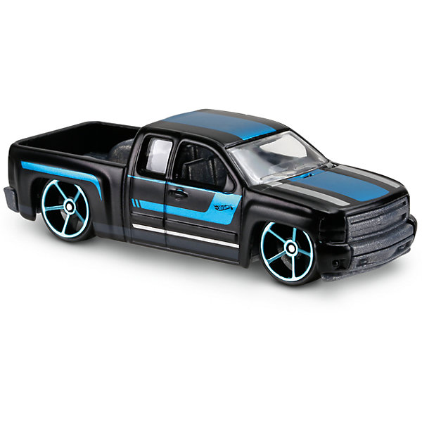 Базовая машинка Hot Wheels, Chevy SilveradoПопулярные игрушки<br>Характеристики:<br><br>• возраст: от 3 лет;<br>• тип игрушки: пикап;<br>• цвет: белый, синий;<br>• особенности: инерционная;<br>• материал: пластик, металл; <br>• размер: 11х4,5х11 см;<br>• вес: 30 гр;<br>• страна бренда: США;<br>• страна производитель: Китай;<br>• тип упаковки: блистер на картоне;<br>• эффекты: без эффектов.<br><br><br>Машинка Hot Wheels Chevy Silverado DVB73 бренда Mattel представляет собой пикап, который станет достойным пополнением автопарка  мальчика. Легендарная серия коллекционных машинок завоевала внимание всех детей. Быстрые и красочные  машинки Hot Wheels выглядят очень ярко и эффектно благодаря оригинальному дизайну. Они выполнены из металла и пластика, что гарантирует прочность и устойчивость к столкновениям. <br><br>Машинка раскрашена в черный цвет. Автомобиль создан из проверенных и безопасных материалов. Особенность пикапа  – его вместительность и открытые окна, благодаря чему можно рассмотреть салон и управление автомобилем. Игрушка выполнена из безопасных и нетоксичных материалов.<br><br>Стильная игрушка станет отличным подарком для ребенка от трех лет. Кроме того, малыш сможет собрать целую коллекцию этих популярных машинок и обмениваться ими с друзьями. Машинка Hot Wheels Chevy Silverado DVB73 во время гонки не оставит равнодушным ни одного мальчика. <br><br>Машинку Hot Wheels Chevy Silverado DVB73 можно купить в нашем интернет-магазине.<br>Ширина мм: 110; Глубина мм: 45; Высота мм: 110; Вес г: 30; Возраст от месяцев: 36; Возраст до месяцев: 96; Пол: Мужской; Возраст: Детский; SKU: 7198120;