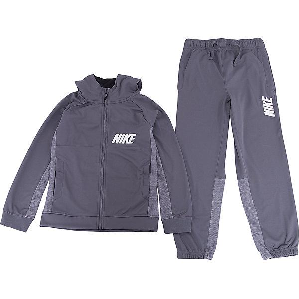 Спортивный костюм NIKEСпортивные костюмы<br>Характеристики товара:<br><br>• цвет: серый<br>• комплектация: тенниска, брюки<br>• состав ткани: 100% полиэстер<br>• длинные рукава<br>• застежка: молния<br>• пояс: резинка и шнурок<br>• особенности модели: спортивный стиль<br>• сезон: демисезон<br>• страна бренда: США<br>• страна изготовитель: Малайзия<br><br>Спортивный костюм Nike - комфортная и качественная одежда для отдыха и занятий спортом. Курточка из спортивного комплекта для детей дополнена карманами. Спортивный костюм Найк не стесняет движения ребенка и отлично подойдет для занятий спортом.<br><br>Спортивный костюм Nike (Найк) можно купить в нашем интернет-магазине.<br>Ширина мм: 247; Глубина мм: 16; Высота мм: 140; Вес г: 225; Цвет: серый; Возраст от месяцев: 156; Возраст до месяцев: 180; Пол: Унисекс; Возраст: Детский; Размер: 158/170,122/128,128/134,135/140,147/158; SKU: 7198718;