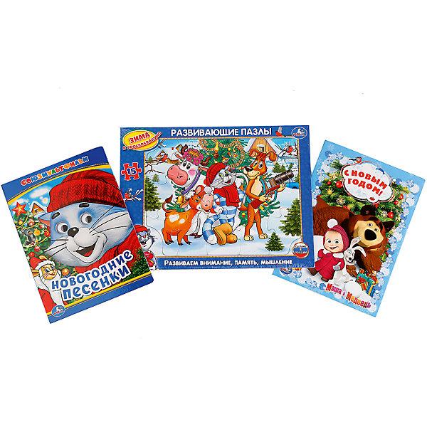 Набор Новый год с любимыми героямиНовогодние книги<br>Характеристики:<br><br>• возраст: от 2 лет<br>• в наборе: книжка с глазками «Новогодние песенки. Союзмультфильм» (размер 16х22 см, объем 10 картонных страниц); книжка «С Новым годом!» (размер 16х22 см, объем 8 картонных страниц); пазл в рамке «Зима в Простоквашино» (15 крупных деталей, размер 21,5х28,5 см., материал картон).<br>• иллюстрации: цветные<br>• издательство: Умка<br>• ISBN: 6934600002772<br><br>В набор входят книжка с глазками «Новогодние песенки. Союзмультфильм», книжка «С Новым годом!» и развивающий пазл в рамке «Зима в Простоквашино».<br><br>С помощью книжек входящих в комплект ребенок сможет разучить песенки к новогоднему празднику, а также прочитать увлекательную историю о новогодних приключениях Маши и Медведя.<br><br>Развивающий пазл состоит из 15 крупных деталей. Для того чтобы было удобно его собирать, имеется специальная рамка. Все детали легко соединяются между собой и имеют сглаженные края, поэтому малыш не поранится. Пазл поможет развить внимание, память и образное мышление.<br><br>Набор Новый год с любимыми героями можно купить в нашем интернет-магазине.<br><br>Ширина мм: 29<br>Глубина мм: 6<br>Высота мм: 22<br>Вес г: 360<br>Возраст от месяцев: 36<br>Возраст до месяцев: 72<br>Пол: Унисекс<br>Возраст: Детский<br>SKU: 7198996