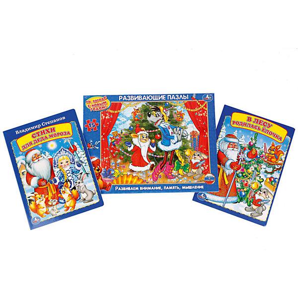 Набор из 3-х книг Дед Мороз и СнегурочкаНовогодние книги<br>Характеристики:<br><br>• возраст: от 2 лет<br>• в наборе: книжка «Стихи для Деда Мороза» (размер 16х22 см, объем 8 картонных страниц); книжка «В лесу родилась елочка» (размер 16х22 см, объем 8 картонных страниц); пазл в рамке «Ну погоди! С Новым годом!» (15 крупных деталей, размер 21,5х28,5 см., материал картон).<br>• иллюстрации: цветные<br>• издательство: Умка<br>• ISBN: 6934600002796<br><br>В набор входят книжка «Стихи для Деда Мороза», книжка «В лесу родилась елочка» и развивающий пазл в рамке «Ну погоди! С Новым годом!».<br><br>С помощью книжек входящих в комплект ребенок сможет разучить стихи и песенки (20 песенок) к празднику, а потом рассказать их Деду Морозу или на утреннике в детской саду.<br><br>Развивающий пазл состоит из 15 крупных деталей. Для того чтобы было удобно его собирать, имеется специальная рамка. Все детали легко соединяются между собой и имеют сглаженные края, поэтому малыш не поранится. Пазл поможет развить внимание, память и образное мышление.<br><br>Набор Дед Мороз и Снегурочка можно купить в нашем интернет-магазине.<br><br>Ширина мм: 29<br>Глубина мм: 1<br>Высота мм: 22<br>Вес г: 310<br>Возраст от месяцев: 36<br>Возраст до месяцев: 72<br>Пол: Унисекс<br>Возраст: Детский<br>SKU: 7198998