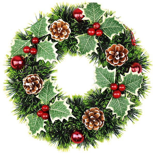 Новогодний венок Magic Land, 27 смНовогодние венки<br>Венок хвойный новогодний<br>Материал: металл, пластик<br>Ширина мм: 280; Глубина мм: 270; Высота мм: 70; Вес г: 162; Возраст от месяцев: 36; Возраст до месяцев: 2147483647; Пол: Унисекс; Возраст: Детский; SKU: 7199817;