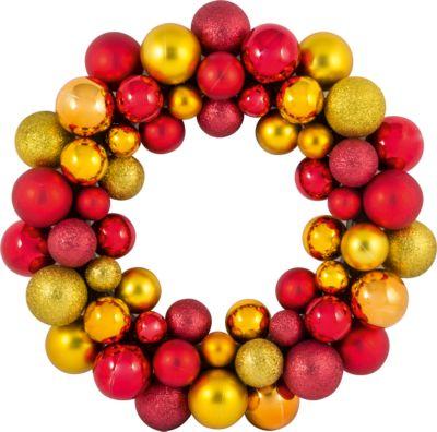 Волшебная Страна Новогодний венок из шариков Magic Land, 33 см (красный, золотой)